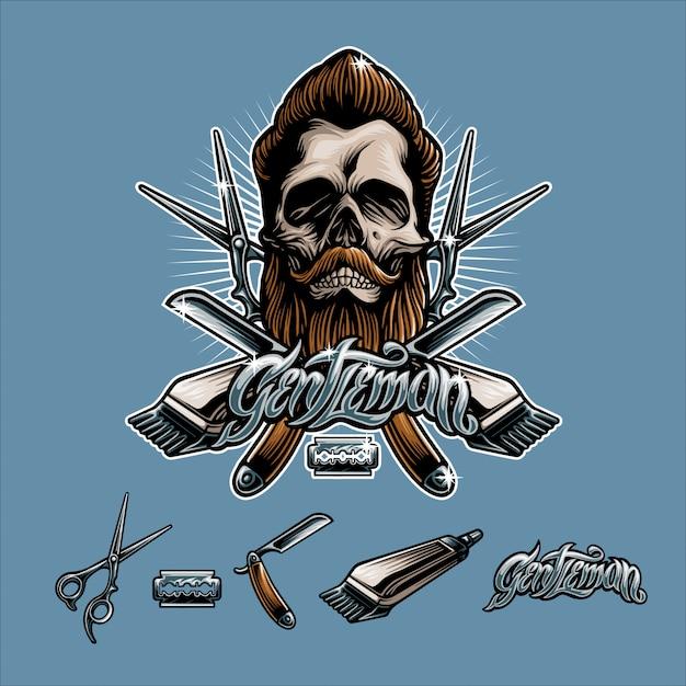 Barberskull man Premium Vector