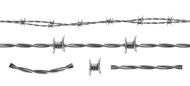 Иллюстрация колючей проволоки, горизонтальный бесшовный узор и отдельные элементы изоляции barbwire Бесплатные векторы