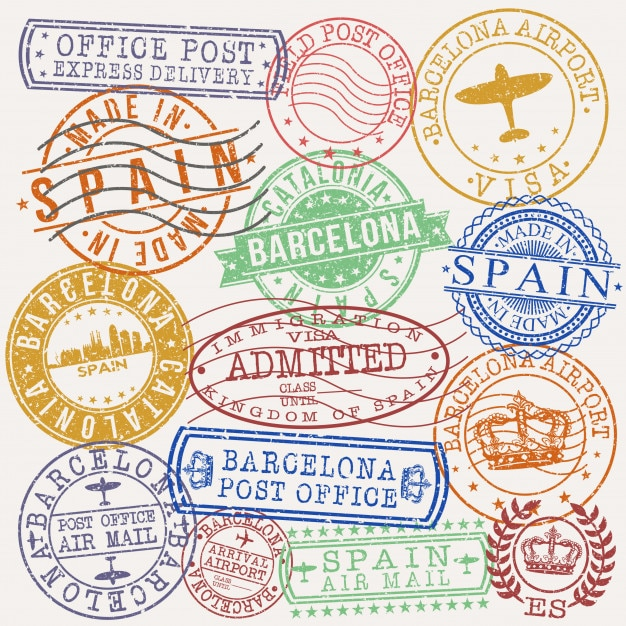 Barcelona spain postal passport quality stamp Premium Vector