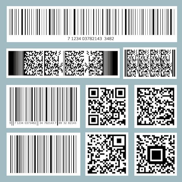 Коллекция штрих-кодов и qr-кодов Бесплатные векторы