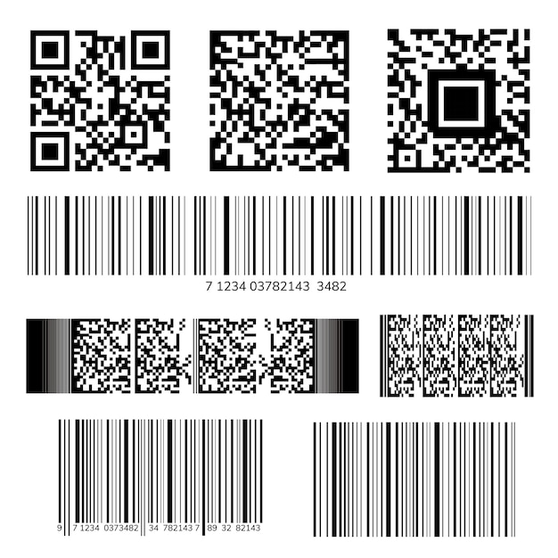Raccolta codice a barre e qr Vettore gratuito