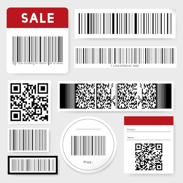 Barcode and qr code collection Free Vector