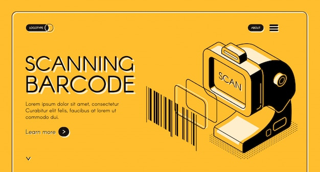 Barcode scanning equipment store web banner or site Free Vector