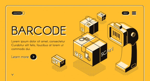 Barcode scanning web banner or site isometric with desktop barcode reader, stationary laser Free Vector
