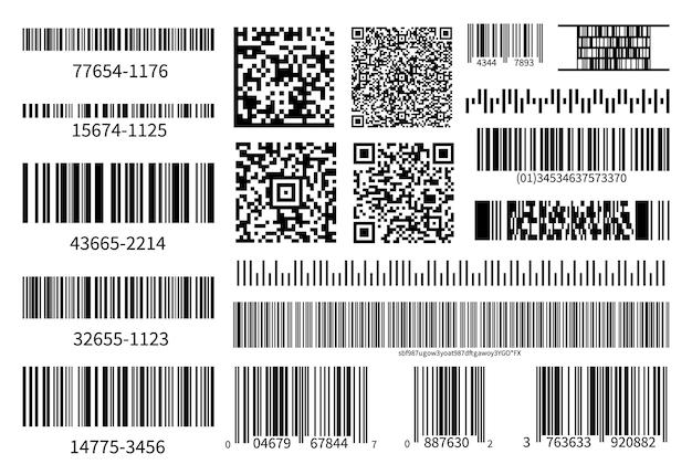 バーコードコレクション。ベクトルコード情報、qr、スキャンコードを保存します。産業用コーディング情報。スキャン用イラストデータqr、製品バーコード Premiumベクター