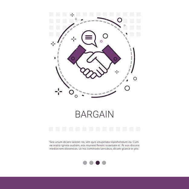Bargain hand shake agreement deal web banner Premium Vector
