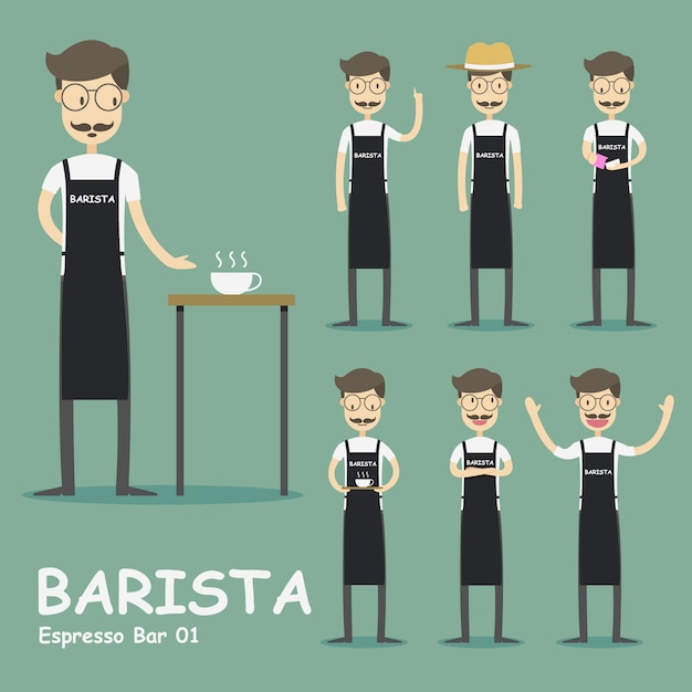 Barista character collection Free Vector