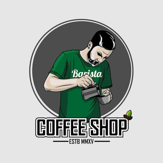 バリスタコーヒーイラスト Premiumベクター