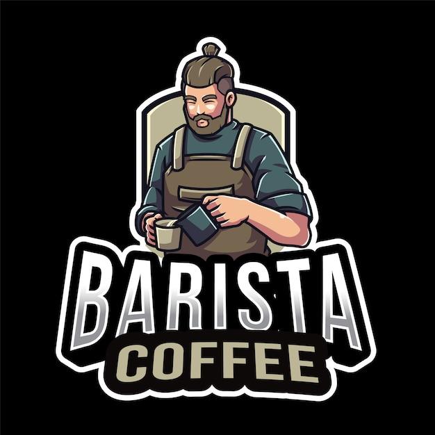 バリスタコーヒーのロゴのテンプレート Premiumベクター