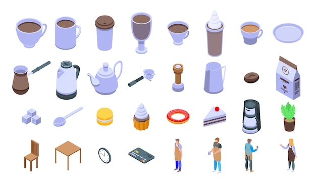 Barista icons set Premium Vector