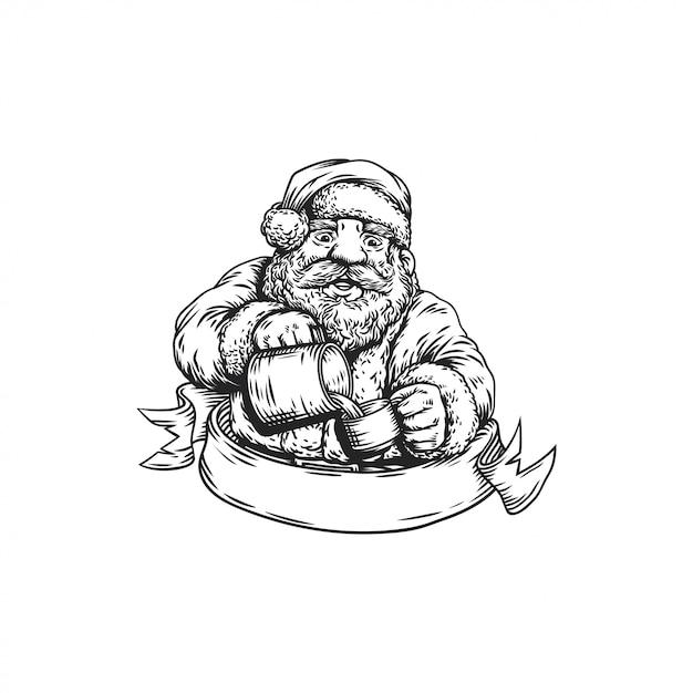 Barista of santa claus Premium Vector