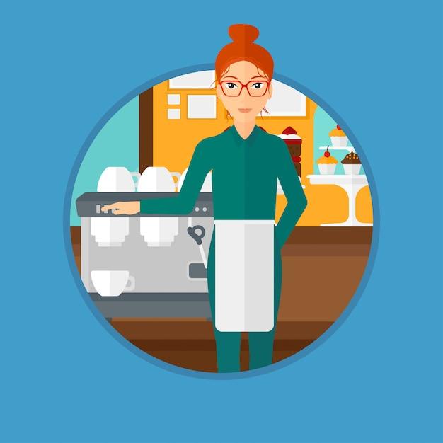 Barista standing near coffee machine. Premium Vector