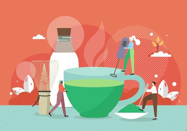 Крошечные мужские и женские персонажи-бариста готовят гигантскую чашку зеленого чая матча Premium векторы