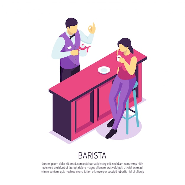 Barista with tea pot near bar desk during customer service on white  isometric Free Vector