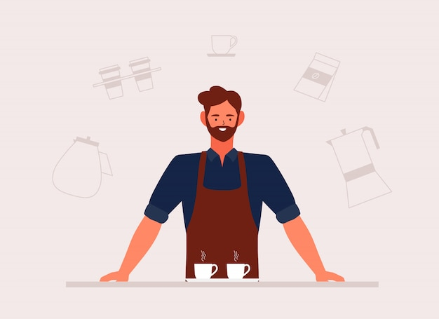 Иллюстрация кофейни малого бизнеса и человек barista в переднике с нарисованной рукой машиной и аксессуарами в кофейне Premium векторы