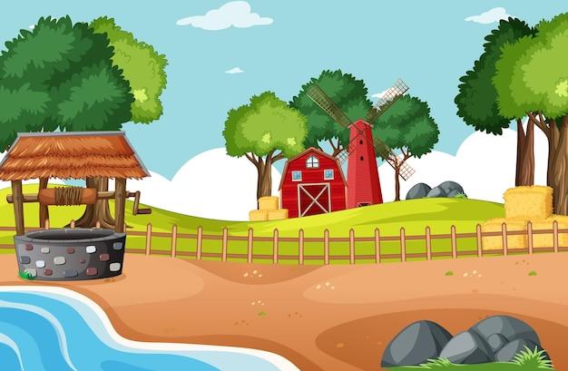 農場シーンの納屋とwidmill 無料ベクター
