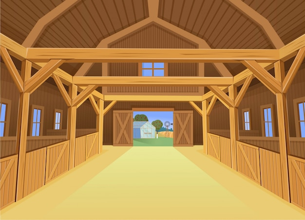 A barn for farm animals, view inside.  illustration in cartoon style Premium Vector