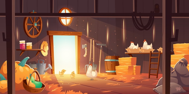 Barn on farm with chickens, straw and hay Free Vector