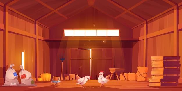 鶏舎、ビュー内の農家の納屋のインテリア 無料ベクター