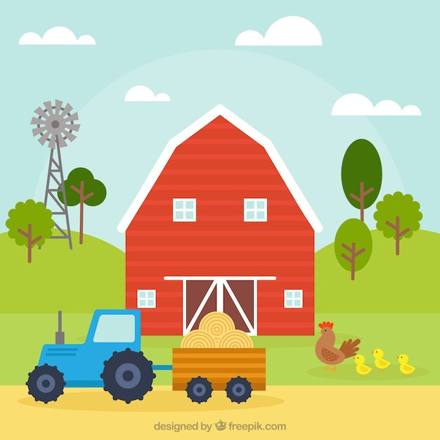 Barn and tractor background Vector | Free Download