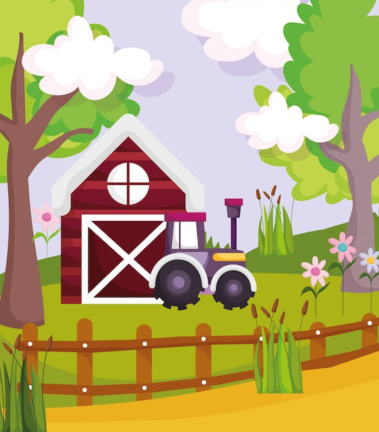 Barn tractor fence flowers plants trees farm animal cartoon illustration Premium Vector