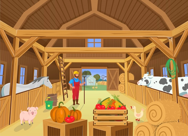 A barn with animals and farmer, view inside. vector illustration in cartoon style Premium Vector