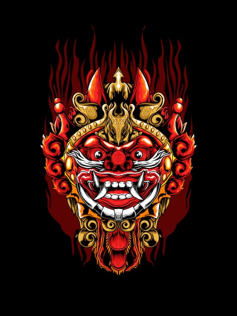 Barong mask illustration Premium Vector
