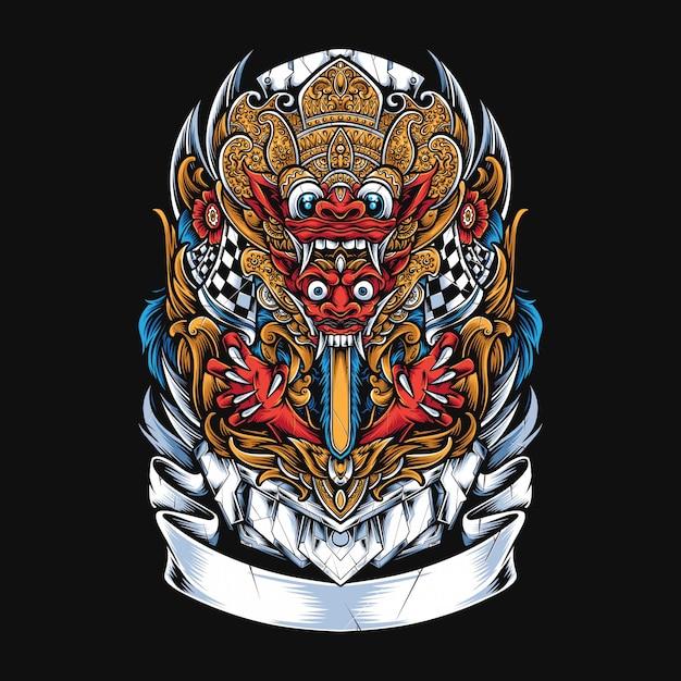 Barong mask illustration Premium Vector