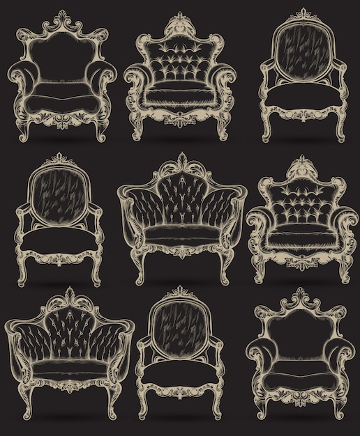 Premium Vector | Baroque armchair rich intricate structure collection