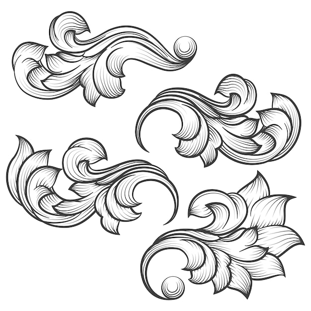 Baroque engraving leaf scroll Premium Vector