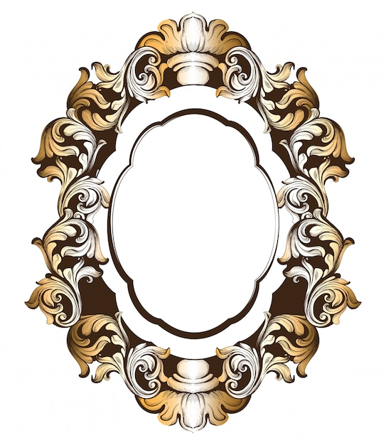 Baroque golden mirror frame Premium Vector