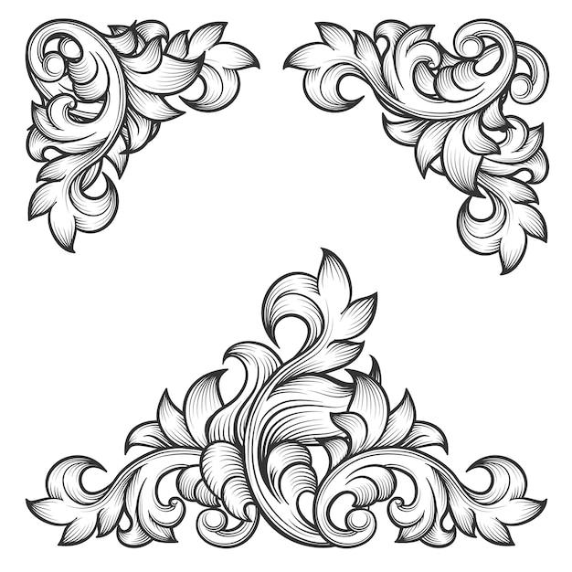 バロック様式の葉フレーム渦巻き装飾的なデザイン要素セット。花の彫刻、ファッションパターンモチーフ、 無料ベクター