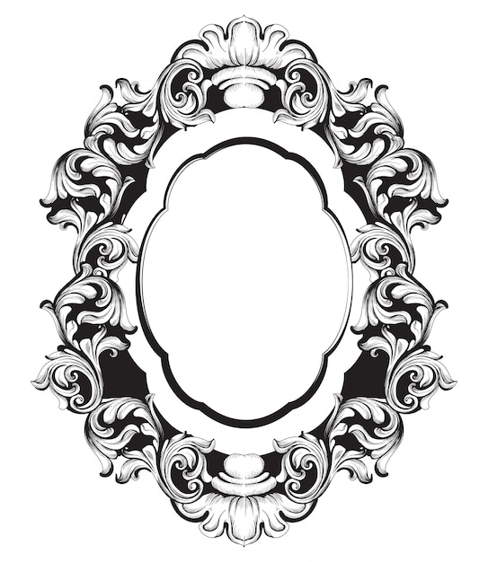 Baroque mirror frame line art Premium Vector