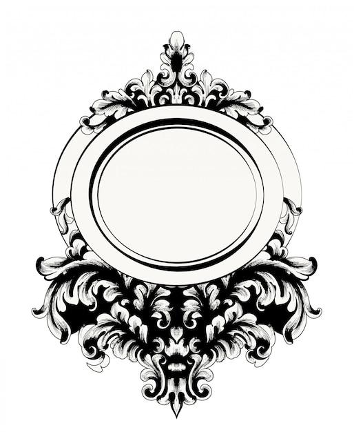 Baroque mirror frame Premium Vector