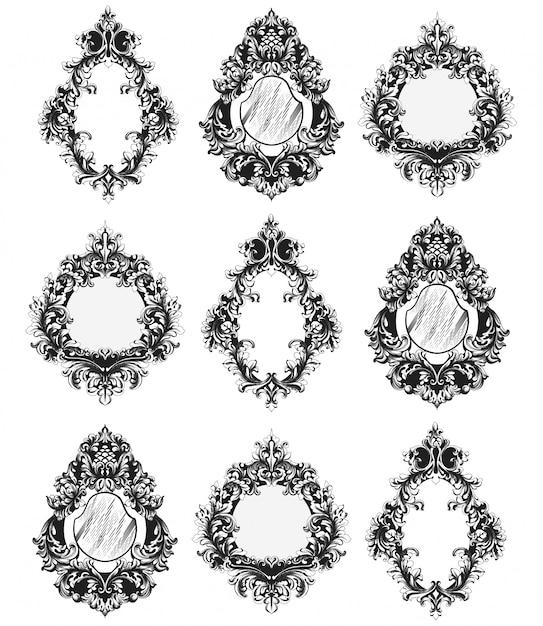 Baroque mirror frames set Premium Vector