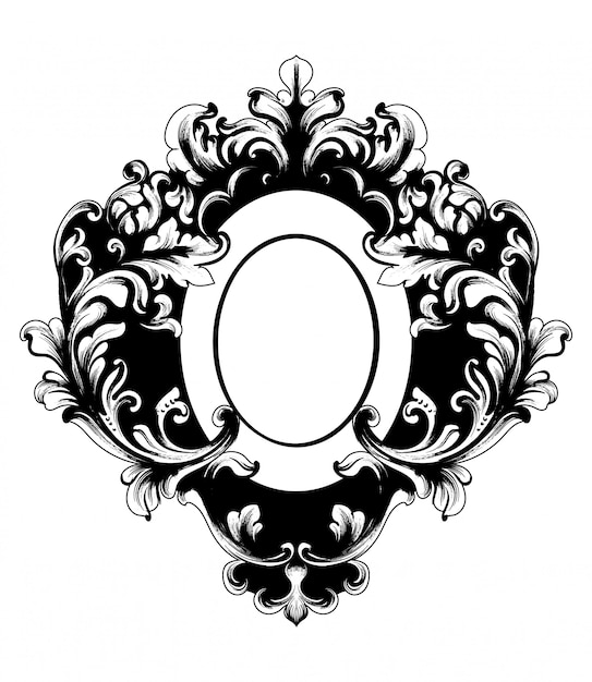 Baroque rich oval shape frame Premium Vector