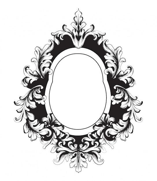 Baroque vector vintage frame Premium Vector
