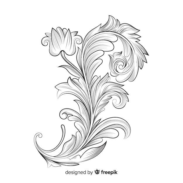 Baroque vintage flowers Free Vector