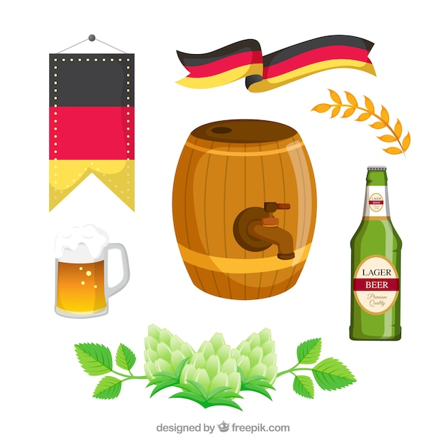 Barrel with other elements of oktoberfest