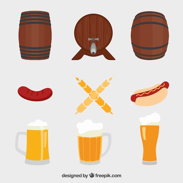 Barrels, beer mugs and sausages