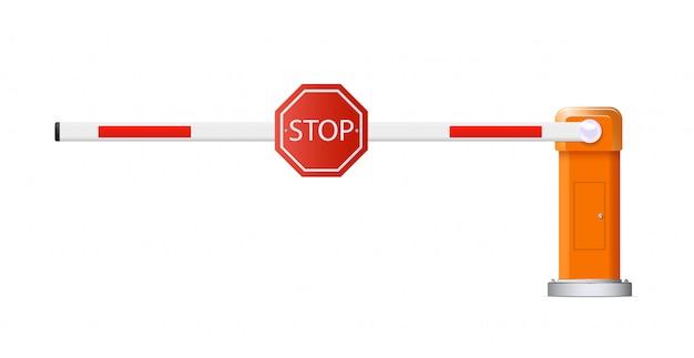 Барьерное стадо. подробные иллюстрации открытых и закрытых красных и белых автомобильных барьеров. Premium векторы