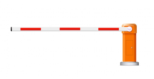 Барьерное стадо. подробные иллюстрации красные и белые автомобильные барьеры. Premium векторы
