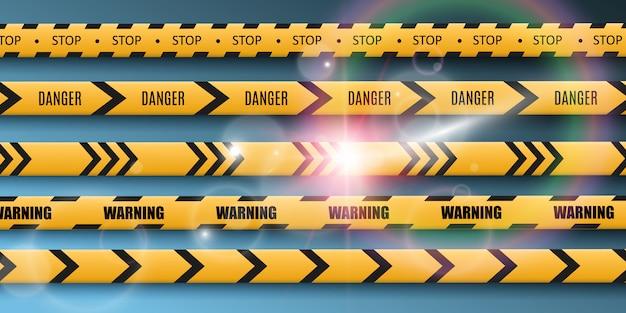 Barrier warning tape on transparent background.  illustration. Premium Vector