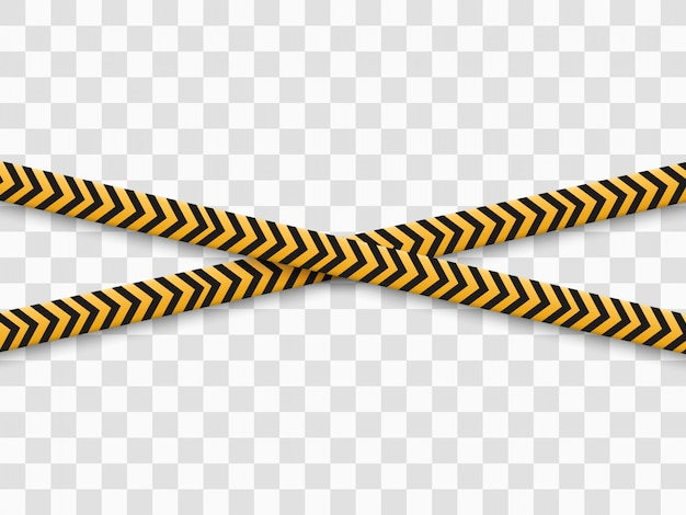 Barrier warning tape on transparent background.  illustration. Premium Vector