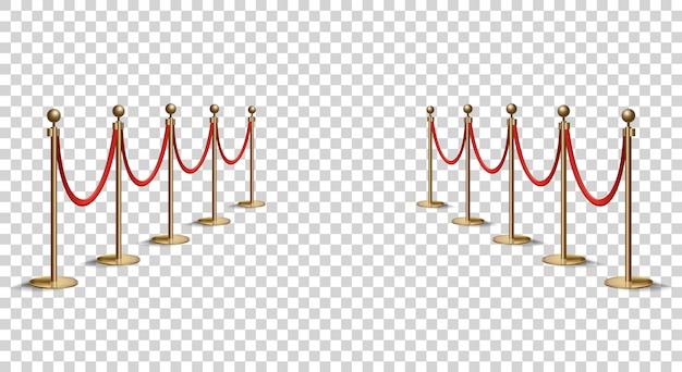 赤いロープラインの障壁。 vipゾーン、閉じたイベント制限。ベルベットのロープで金色の棒の現実的なイメージ。孤立した Premiumベクター