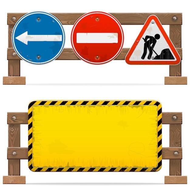 白い背景で隔離の道路標識と障壁 Premiumベクター