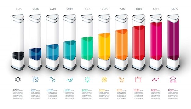 Bars chart infographics with colorful 3d piece Premium Vector