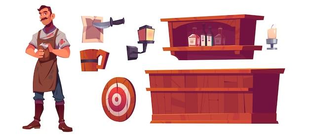 バーテンダーと古い居酒屋のインテリア、木製のバーカウンター、ボトル付きの棚、ランタン、ビールジョッキ 無料ベクター