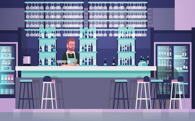 Bartender on bar counter, barkeeper man over bottles of alcohol and glasses Premium Vector