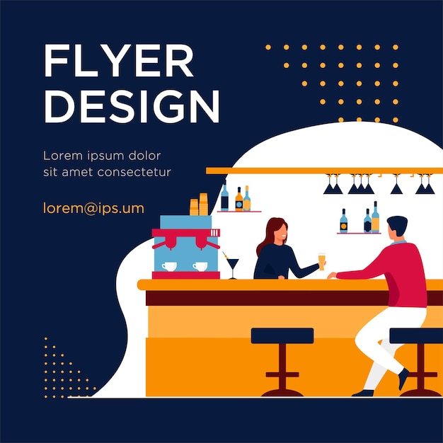 Bartender giving glass of beer to male client. drink, administrator, bar counter flat flyer template Free Vector